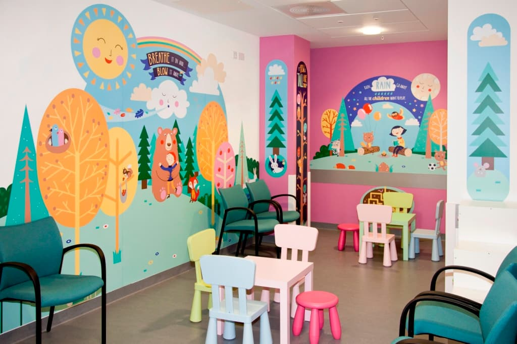 Colourful children's waiting room in hospital emergency department