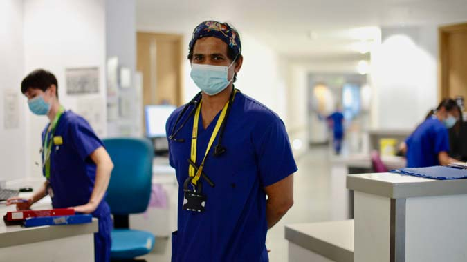 Southmead Hospital staff in scrubs and face masks